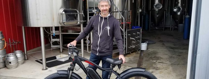 Kevin with his beloved new DJ Fat Bike at Wolf Brewery